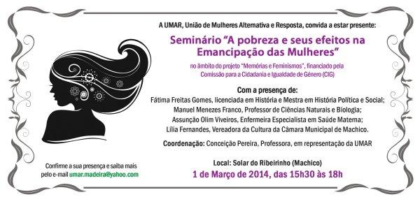 """Seminário """"A pobreza e seus efeitos na Emancipação das Mulheres"""""""